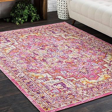 Bungalow Rose Kahina Traditional Vintage Distressed Oriental Rectangle Pink Area Rug; 9' x 13'