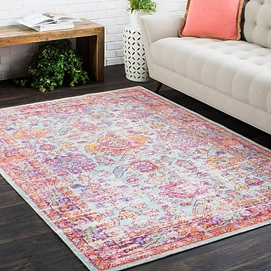 Bungalow Rose Kahina Vintage Distressed Oriental Rectangle Neutral Pink Area Rug; 7'10'' x 10'6''