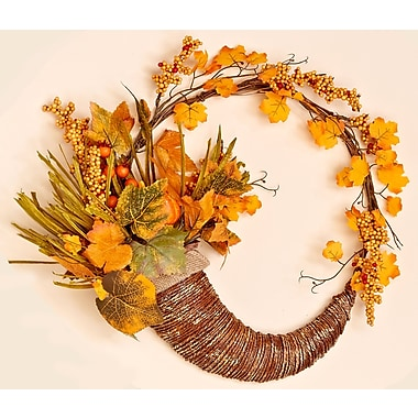 The Holiday Aisle 18'' Fall Long Grasses, Berries, Pumpkins and Leaves Wreath