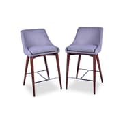 Corrigan Studio Dalton Mid Century Modern 25.5'' Bar Stool (Set of 2); Light Gray
