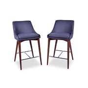 Corrigan Studio Dalton Mid Century Modern 25.5'' Bar Stool (Set of 2); Dark Gray