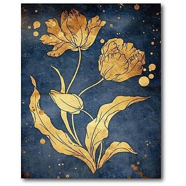 Mercer41 'Floral Golden' Rectangle Graphic Art Print on Wrapped Canvas