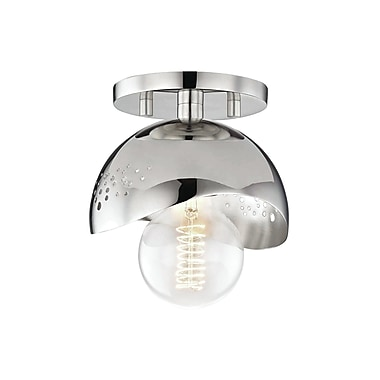 Brayden Studio Galina 1-Light Semi Flush Mount; Polished Nickel