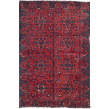 Bloomsbury Market Bridges Hand-Knotted Geometric Red Indoor Area Rug