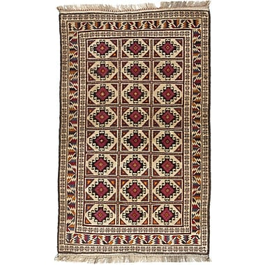 Bloomsbury Market Shaffer Hand-Knotted Brown/Ivory Area Rug