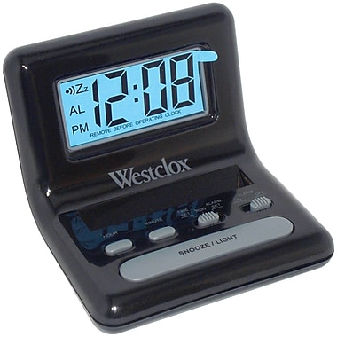 Ebern Designs LCD Digital Bedside Alarm Tabletop Clock; Black