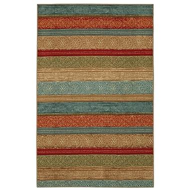 Bloomsbury Market Elnora Samsun Batik Stripe Tan/Blue Area Rug; 5' x 7'