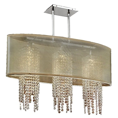 Everly Quinn Kenlee Oval Shaded Strand 3-Light Kitchen Island Pendant; Taupe