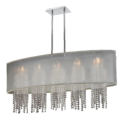 Everly Quinn Kenlee Oval Shaded Strand 5-Light Kitchen Island Pendant; Taupe