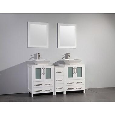 Brayden Studio Mehara 60'' Double Bathroom Vanity Set w/ Mirror; White