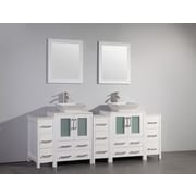 Brayden Studio Melbourne 84'' Double Bathroom Vanity Set w/ Mirror; White