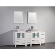 Brayden Studio Melantha 72'' Double Bathroom Vanity Set w/ Mirror; White