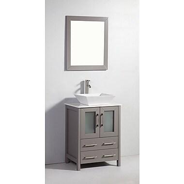 Brayden Studio Meeki 24'' Single Bathroom Vanity Set w/ Mirror; Gray