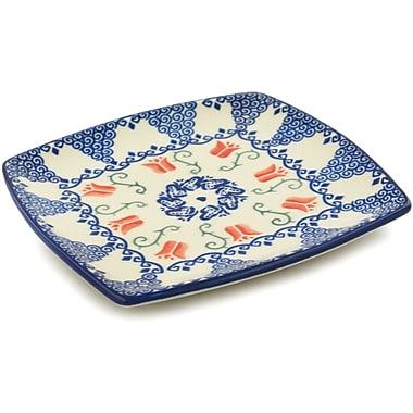 Polmedia Butterfly Tulips Polish Pottery Square Decorative Plate