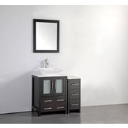 Brayden Studio Megaira 36'' Single Bathroom Vanity Set w/ Mirror; Espresso