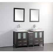 Brayden Studio Mehara 60'' Double Bathroom Vanity Set w/ Mirror; Espresso
