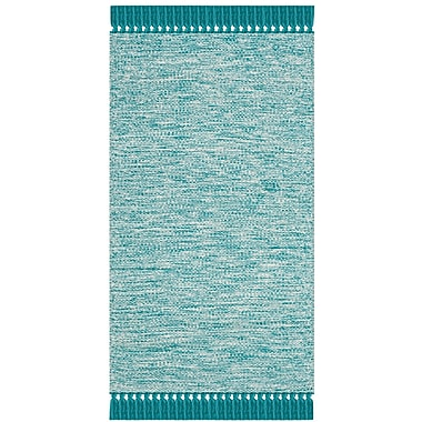 Harriet Bee Zyra Hand-Woven Turquoise/Gray Area Rug; Runner 2'3'' x 7'