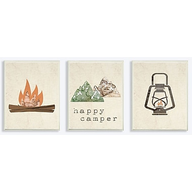 Harriet Bee 'Happy Camper Mountains and Lantern' 3 Piece Graphic Art Print Set on Wood