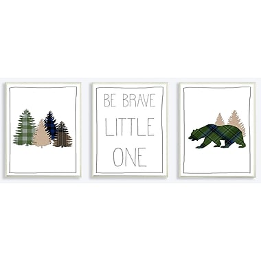 Harriet Bee 'Be Brave Little One Plaid Forest Bear' 3 Piece Graphic Art Print Set on Wood