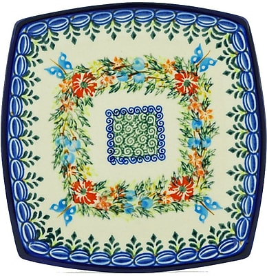 Polmedia Cornflower and Butterflies Polish Pottery Square Decorative Plate