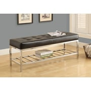 """Monarch I 4535 Bench, 48""""L,  Black Leather-Look, Chrome Metal"""