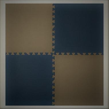 Tapis antifatigue à assembler, bords inclus, 24 x 24 po, bleu/taupe