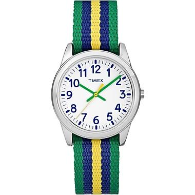 Timex Kids Watch, Green, Blue & Yellow Stripes (TW7C101009J)