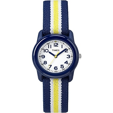 Timex Kids Watch, Blue, White & Yellow Stripes (TW7C058008J)