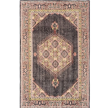 Bloomsbury Market Alessi Hand-Knotted Black/Pink Area Rug; 5'6'' x 8'6''