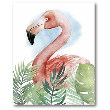 Bayou Breeze 'Watercolor Flamingo' Graphic Art Print on Wrapped Canvas