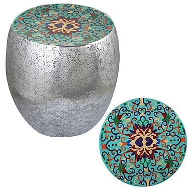 Bungalow Rose Halaka Damask Art Accent Stool