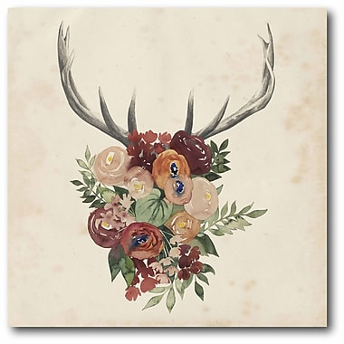 Bungalow Rose 'Flower Antlers II' Graphic Art Print on Wrapped Canvas