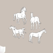 SweetumsWallDecals Vintage White Horses Printed Wall Decal; Small