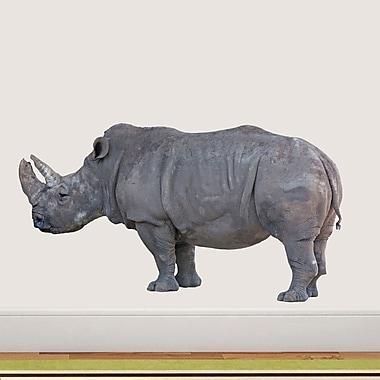 SweetumsWallDecals Real Life Rhino Printed Wall Decal; 26'' H x 48'' W