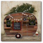 The Holiday Aisle 'Happy Camper Chalkboard' Graphic Art Print on Canvas