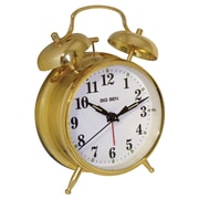 Charlton Home Metal Twin Bell Alarm Tabletop Clock; Gold