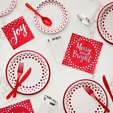 Creative Converting Holiday Sparkle and Shine Paper and Plastic Tableware Kit; Red