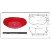 Legion Furniture 64.2'' x 33.5'' Freestanding Soaking Bathtub; Red
