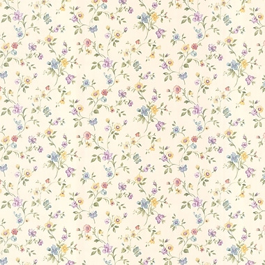 Brewster Home Fashions Cindy Floral Trail 33' x 20.5'' Wallpaper Roll; White