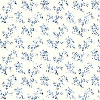 Brewster Home Fashions Waverly Floral Bouquet 33' x 20.5'' Wallpaper Roll; Blue