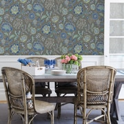 Brewster Home Fashions Solstice Tropez 33' x 20.5'' Jacobean Wallpaper Roll; Charcoal