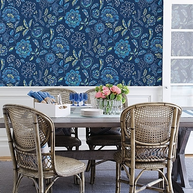 Brewster Home Fashions Solstice Tropez 33' x 20.5'' Jacobean Wallpaper Roll; Navy