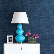 Brewster Home Fashions Solstice 33' x 20.5'' Exhale Faux Grasscloth Wallpaper Roll; Denim