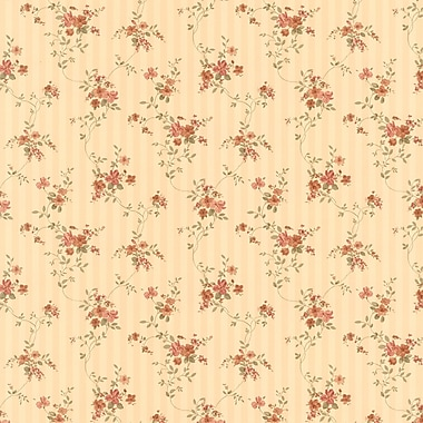 Brewster Home Fashions Laurie Floral Stripe 33' x 20.5'' 3D Embossed Wallpaper Roll