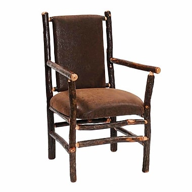 Fireside Lodge Hickory Back Fabric Armchair; Stagecoach Brown