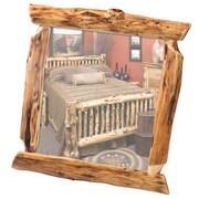 Fireside Lodge Traditional Cedar Log Wall Mirror; 32'' W x 36'' H