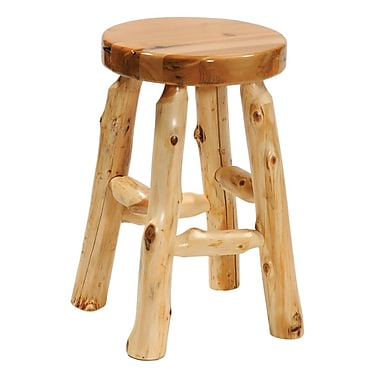 Fireside Lodge Traditional Cedar Log Accent Stool; 24'' Height