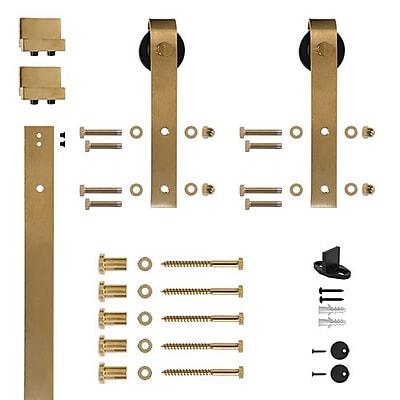 Custom Service Hardware Hook Strap Rolling Barn Door Hardware Kit; Satin Brass
