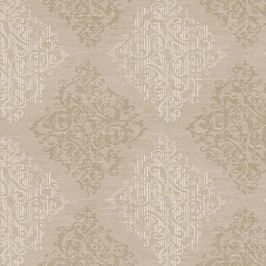 Darby Home Co Bradley 27' x 27'' Damask Distressed Wallpaper Roll; Brown / Pale / Antique Gold