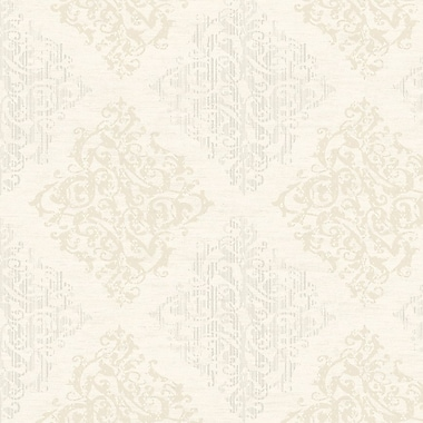 Darby Home Co Bradley 27' x 27'' Damask Distressed Wallpaper Roll; Ivory / Oyster Pearl Metallic